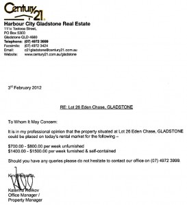 Gladstone Rental Assesment Letter